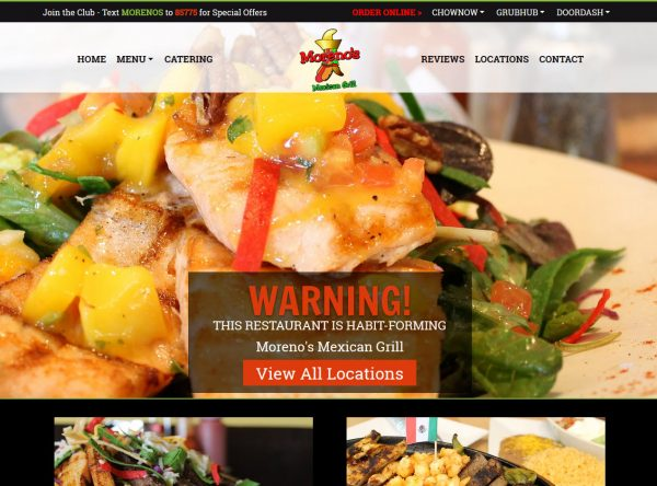 Restaurant Web Design Screenshot - Moreno's Mexican Grill - Created By Web Designs Your Way - Santan Valley, AZ