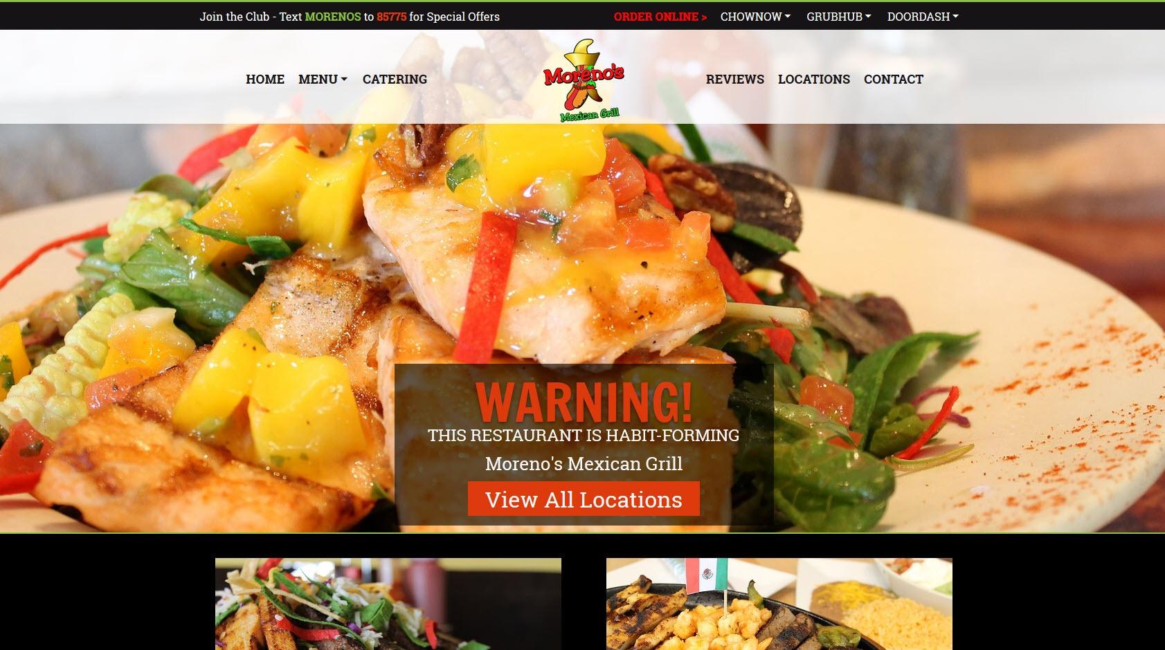 Restaurant Web Design Screenshot - Moreno's Mexican Grill - Created By Web Designs Your Way - Santan Valley, AZ