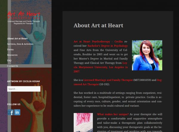 Web Design - Art at heart new - Denver CO