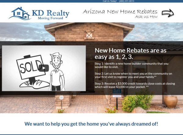 Web Design - KD Screen Shot - Landing Page - Chandler AZ