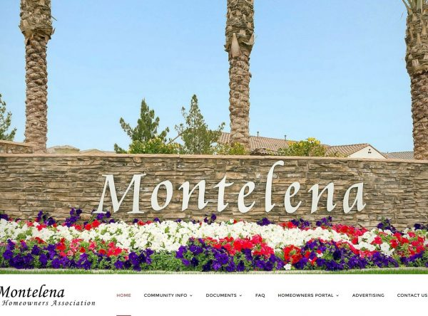 Web Design - Montelena Screen shot - Queen Creek AZ