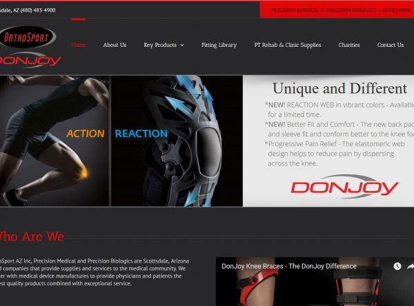 Web Design - OrthoSport Screenshot - Scottsdale AZ