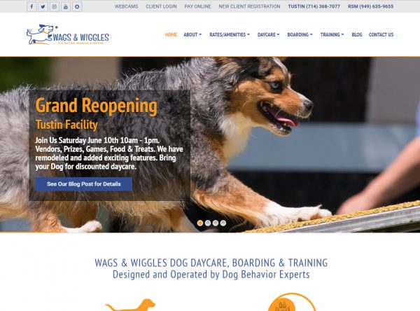 Web Design - Wags and Wiggles - Tustin CA