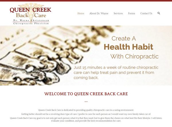 Web Design - Queen Creek Back Care - Queen Creek AZ