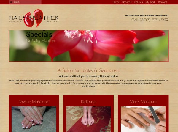 Web Design - Nails by Heather - Castle Rock CO