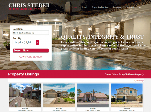 Web Design - Chris Steber Screenshot - Queen Creek AZ