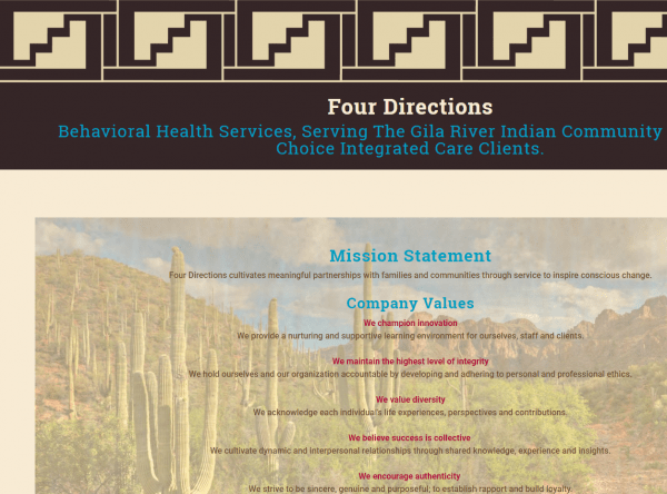 Web Design - Four Directions Screenshot - Chandler AZ