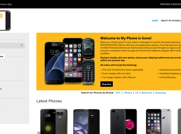 Web Design - My Phones Gone - Screen shot - Mesa AZ