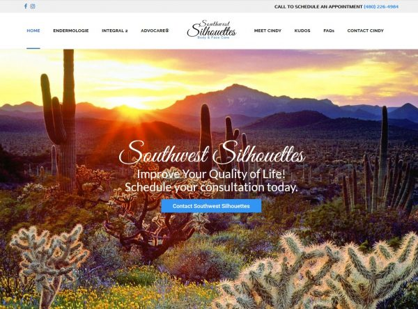 Health & Wellness Web Design Screenshot - Southwest Silhouettes - Created By Web Designs Your Way - Leawood, KS
