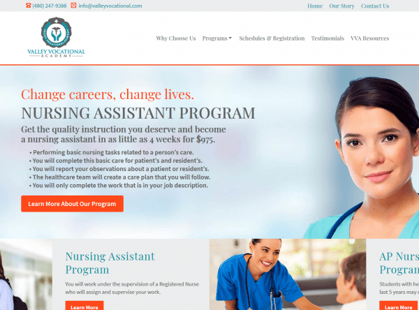 Education Web Design Screenshot - Valley Vocational - Created By Web Designs Your Way - Tempe, AZ