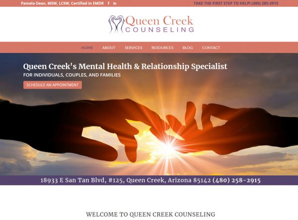 Health & Wellness Web Design Screenshot - Queen Creek Counseling - Created By Web Designs Your Way