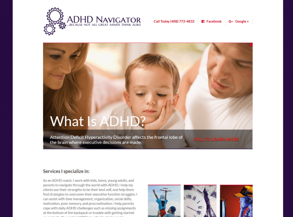 Health & Wellness Web Design - ADHD Navigator - Created by Web Designs Your Way - Parker, CO