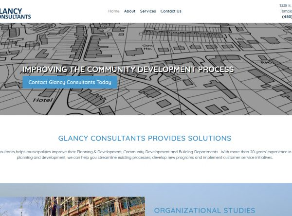 Contractor Website Design - Glancy Consultants - Created by Web Designs Your Way - Tempe, AZ