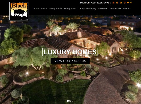 Contractor Website Design - Black Luxury Homes - Created By Web Designs Your Way - Queen Creek, AZ