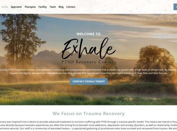 Health and Wellness Web Design Screenshot - Exhale PTSD Recovery - Created by Web Designs Your Way - Chandler, AZ