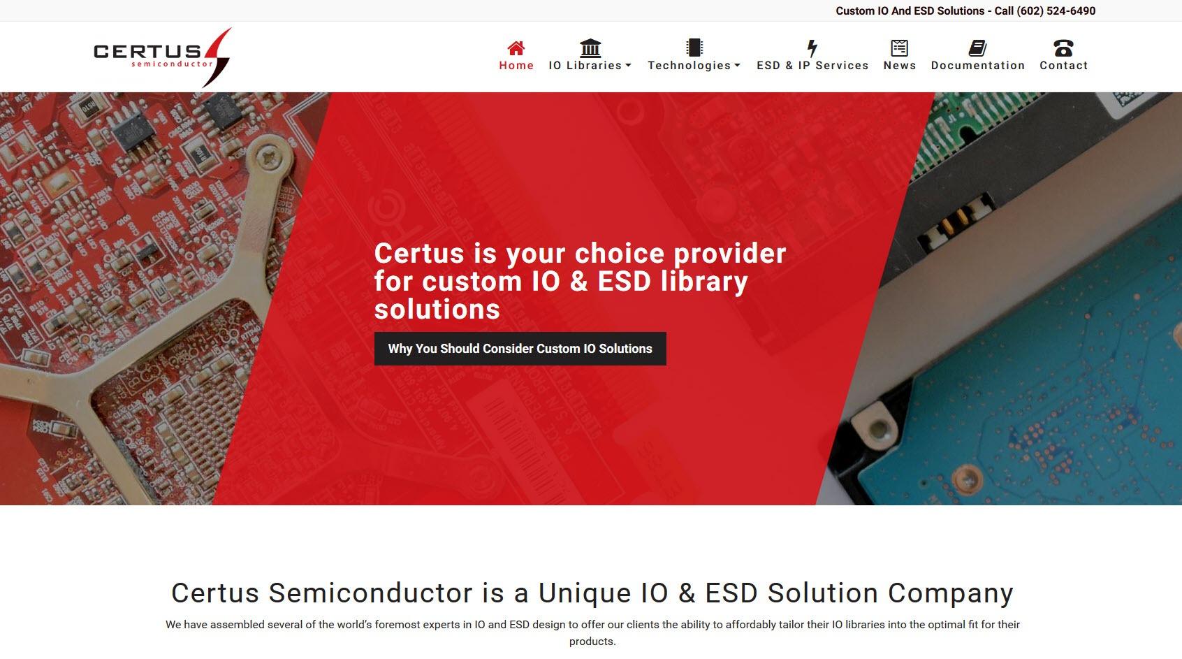 Engineering Website Design - Certus Semiconductor – Mesa, Arizona
