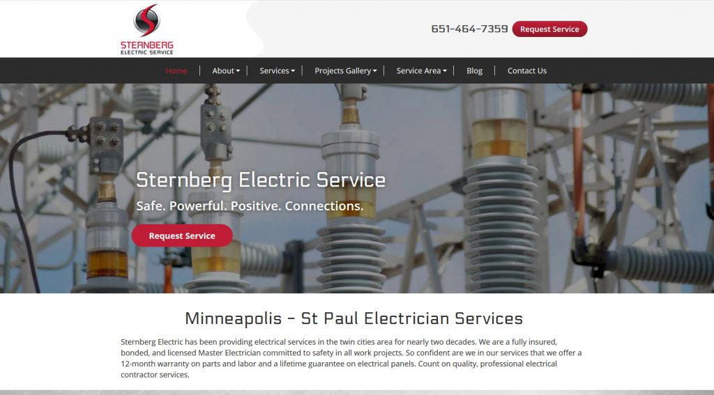 Contractor Website Design - Sternberg Electric - St Paul MN