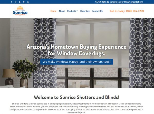 Contractor Web Design - Sunrise Shutters - Chandler, AZ
