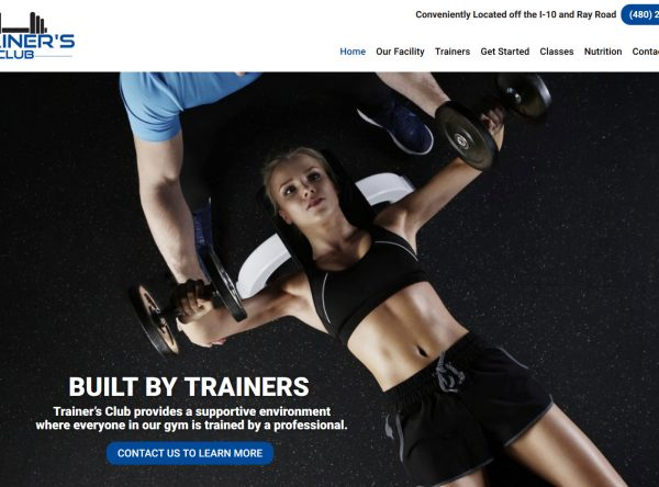 Health and Wellness Website Design - Trainers Club - Created by Web Designs Your Way - Chandler, AZ