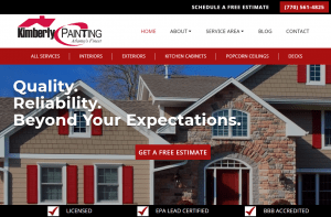Contractor Website Design - Contractor SEO - Kimberly Painting - Cumming, Georgia