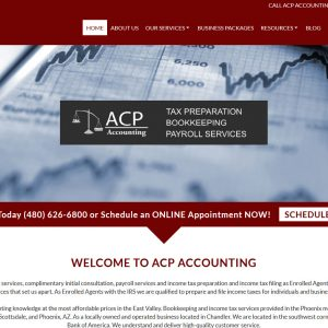 Accountant Web Design Screenshot - ACP Accounting - Chandler, AZ - Created by Web Designs Your Way