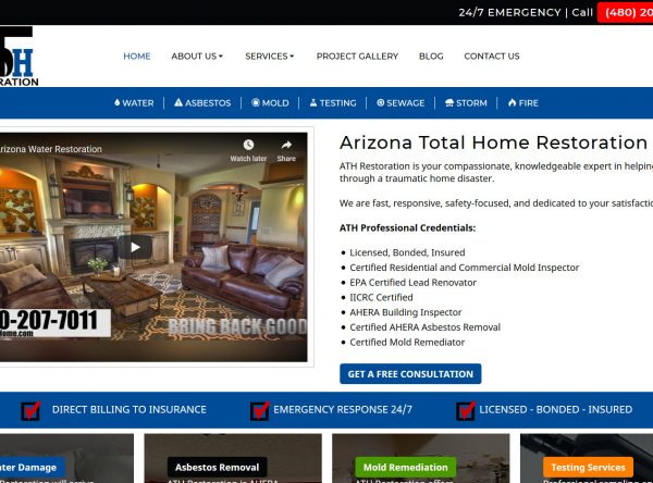 Home Restoration Web Design Screenshot - Arizona Total Home Restoration - Mesa, AZ - Created by Web Designs Your Way