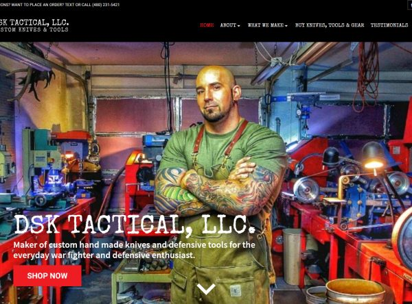 Blacksmith Web Design Screenshot - DSK Tactical - Chandler, AZ - Created by Web Designs Your Way