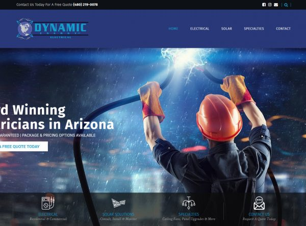 Electrician Web Design Screenshot - Dynamic Energy - Tempe, AZ - Created by Web Designs Your Way