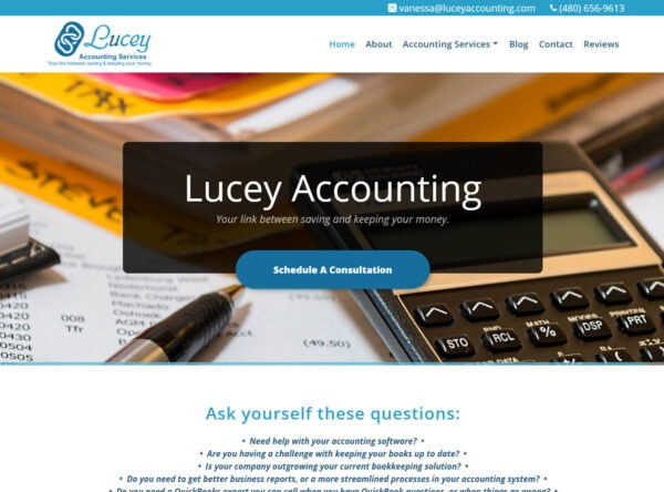 Lucey Accounting, Mesa, Arizona - Accounting Web Design in Mesa
